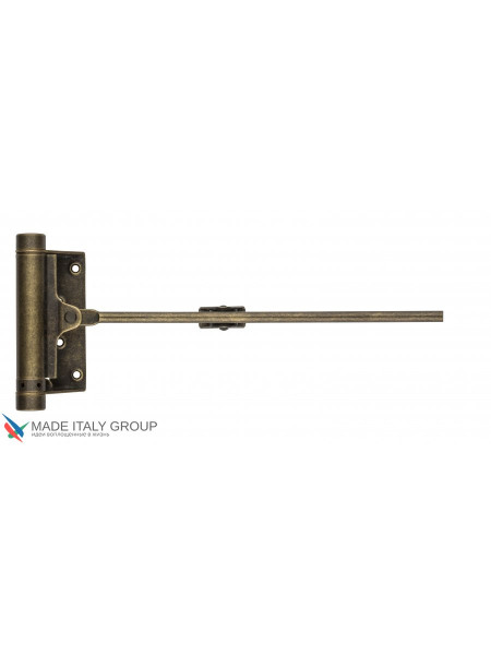Доводчик дверной стальной пружинный до 80кг ALDEGHI (148x345мм) античная бронза