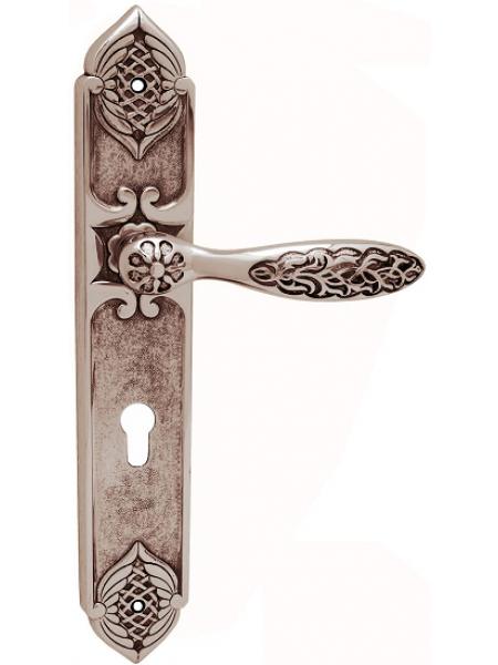 Дверная ручка на планке Class 1060/1010 Shamira Cyl Серебро 925 + черный