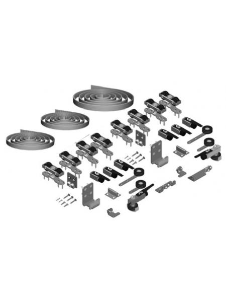 SF-SYNCRO+Telescopic 2+2 Комплект фурнитуры SAHECO для 4 полотен синхро+телескопик 60-80 кг. (010121)