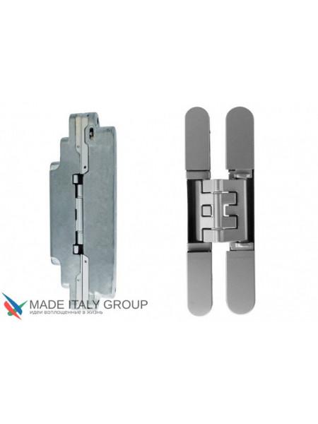 KUBICA 2400 DXSX, CR.SAT петля скрытая универсальная для мебельных узких дверок Матовый хром (52 kg)