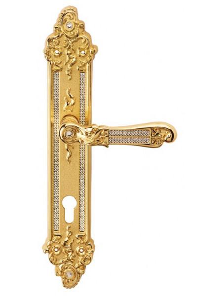Дверная ручка Linea Cali на планке TIFFANY 1307 PL YALE OZ Золото 24К