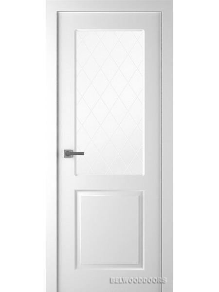 Межкомнатная дверь Belwooddoors ALTA (ОСТЕКЛЕННОЕ) - Мателюкс белый витраж рис. 39, Эмаль белый