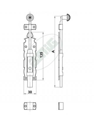 Задвижка Amig 411-150 (черный) 6108
