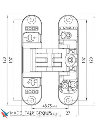 KUBICA 2700 DXSX, BR петля скрытая универсальная центральная БРОНЗА (57 kg)