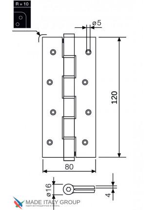 Петля пружинная Justor 5314.01 120 мм матовый хром (30 кг)