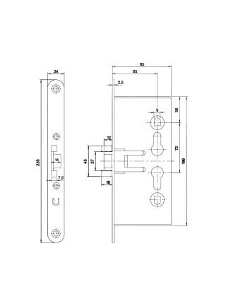 Корпус огнестойкого замка Doorlock V 1739 С/65mm